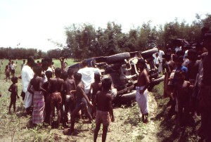 overturned, landrover, toppled, driving, between, rice, paddies