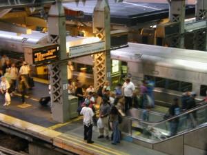 les gens, train, gare