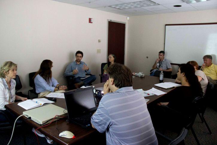 people, discussing, strategies, meeting