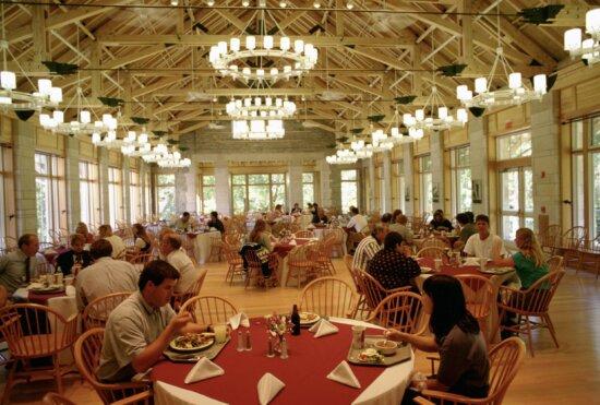 people enjoying, meal, dining, hall