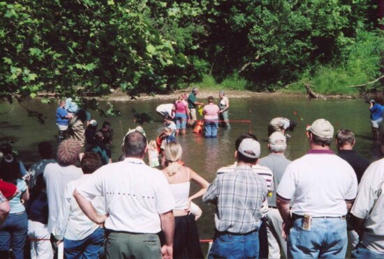 people, gathering, river, looking, mussel