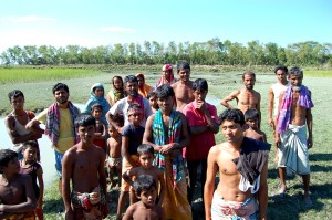 les gens, banque, rivière, Kazal, Naya, Bhangni, village, Chhota