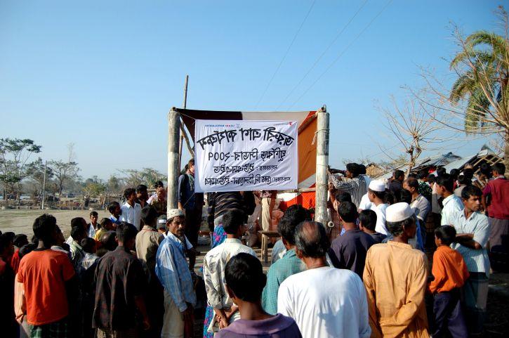 people, standing, long, queues, relief, supplies, Patharghata, Upazila, Barguna, Bangladesh