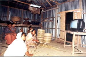 rural, Bangladeshi, family enjoying, benefits, solar, power, lights, television