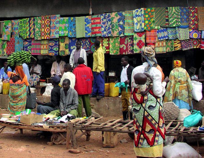 Ruanda, piac, jelenet, nyitott, piacok, vállalkozások