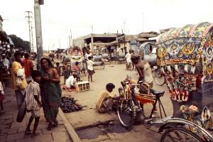 rues, petite ville, le Bangladesh, la région, le Népal