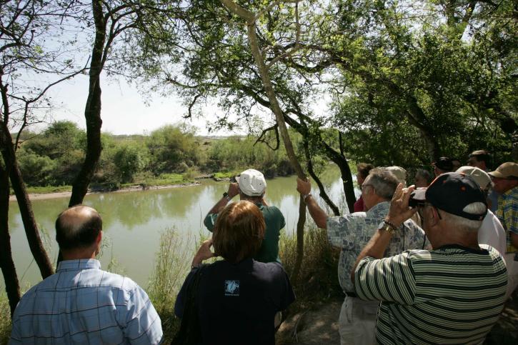 visiteurs, apprécier, plaisirs, la faune, la visualisation, banques, rivière