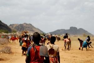 werknemers, gaan, werk, Karamoja, Uganda