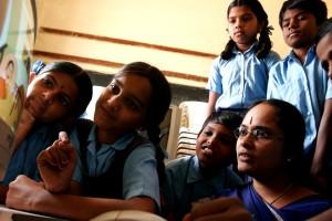 young, Indian, girls, teacher