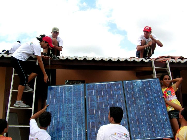 youth, learn, install, solar, panels, power, computer, center, rural, community, Joao