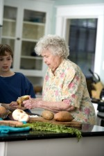 elderly, woman, grandson, kitchen