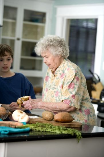 elderly, woman, grandson, kitchen