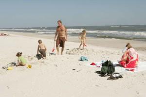 family enjoying, day, beach