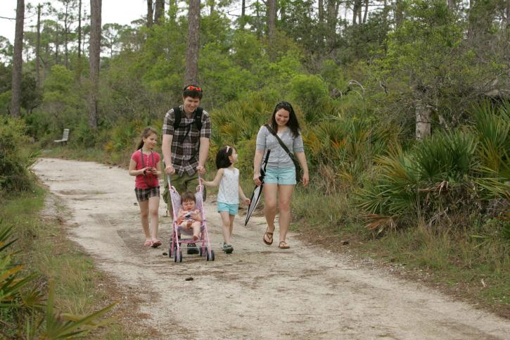 family enjoying, stroll, paths, park