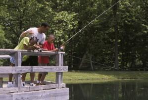 famille, pêche, pont, local, étang