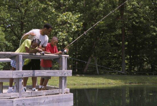 family, fishing, bridge, local, pond