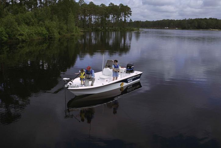 famille, loisirs, lac, bateau