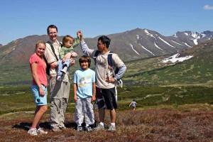 father, children, walking, hiking, nature