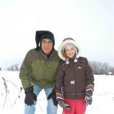 père, fille, profiter, magie, hiver, neige, jeu