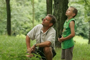 father, son, enjoy, leisurely, noon, birdwatching