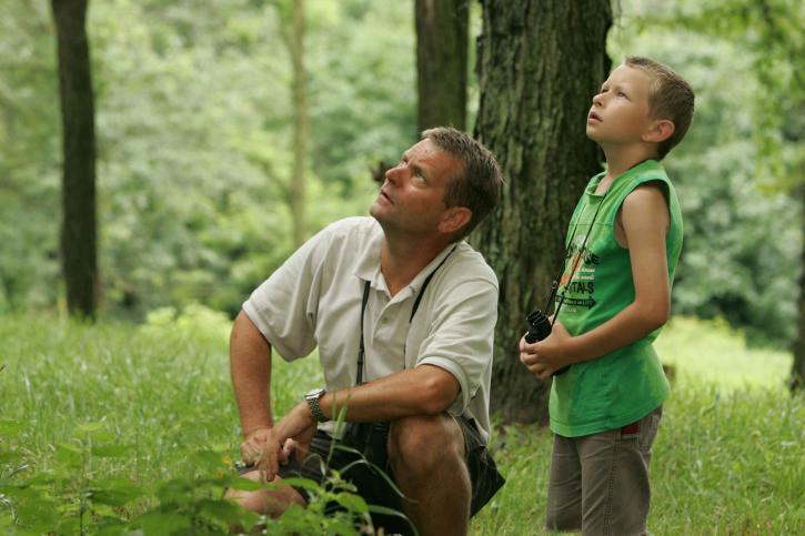 father, son, enjoy, leisurely, noon, birdwatching