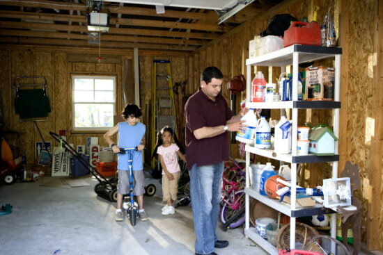 father, garage, items, stored, interior