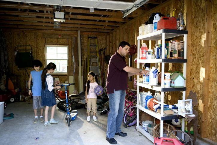 father, organizing, garage ,household, children