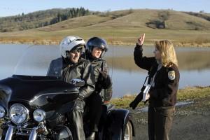 femme, parle, personnes, moto