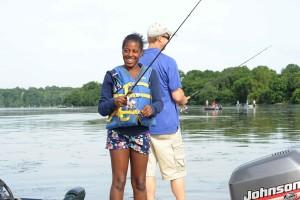 girl, smiles, fish