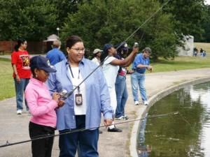 adult, female, cjildren, fishing, lake
