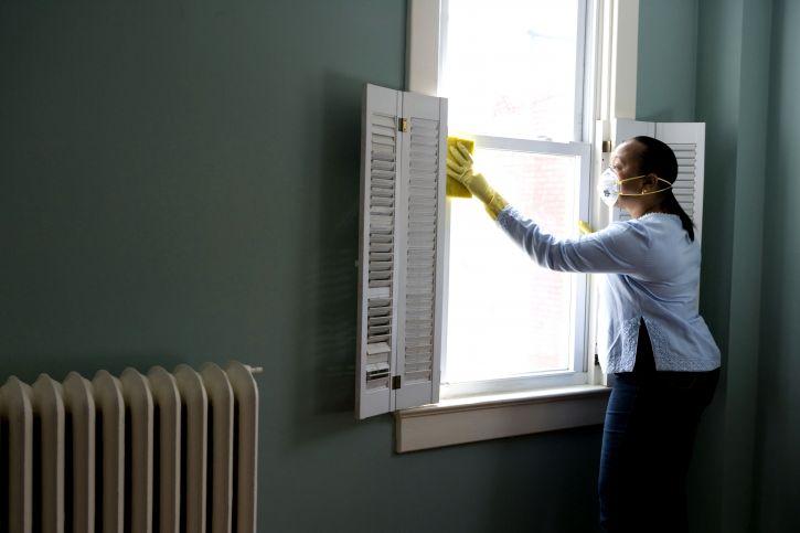 women, cleaning, window, particulates, dust, pollen, home