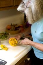 point, salad, preparation, cutting, yellow, bell pepper,