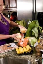taška, pečenie, zemiaky, plátky, mrkvu, balík, vykostené, kuracie, prsia, filety