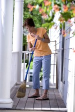 beautiful, brown, haired, woman, cleaning, home