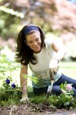 beautiful, brunette, girl enjoying, work, garden