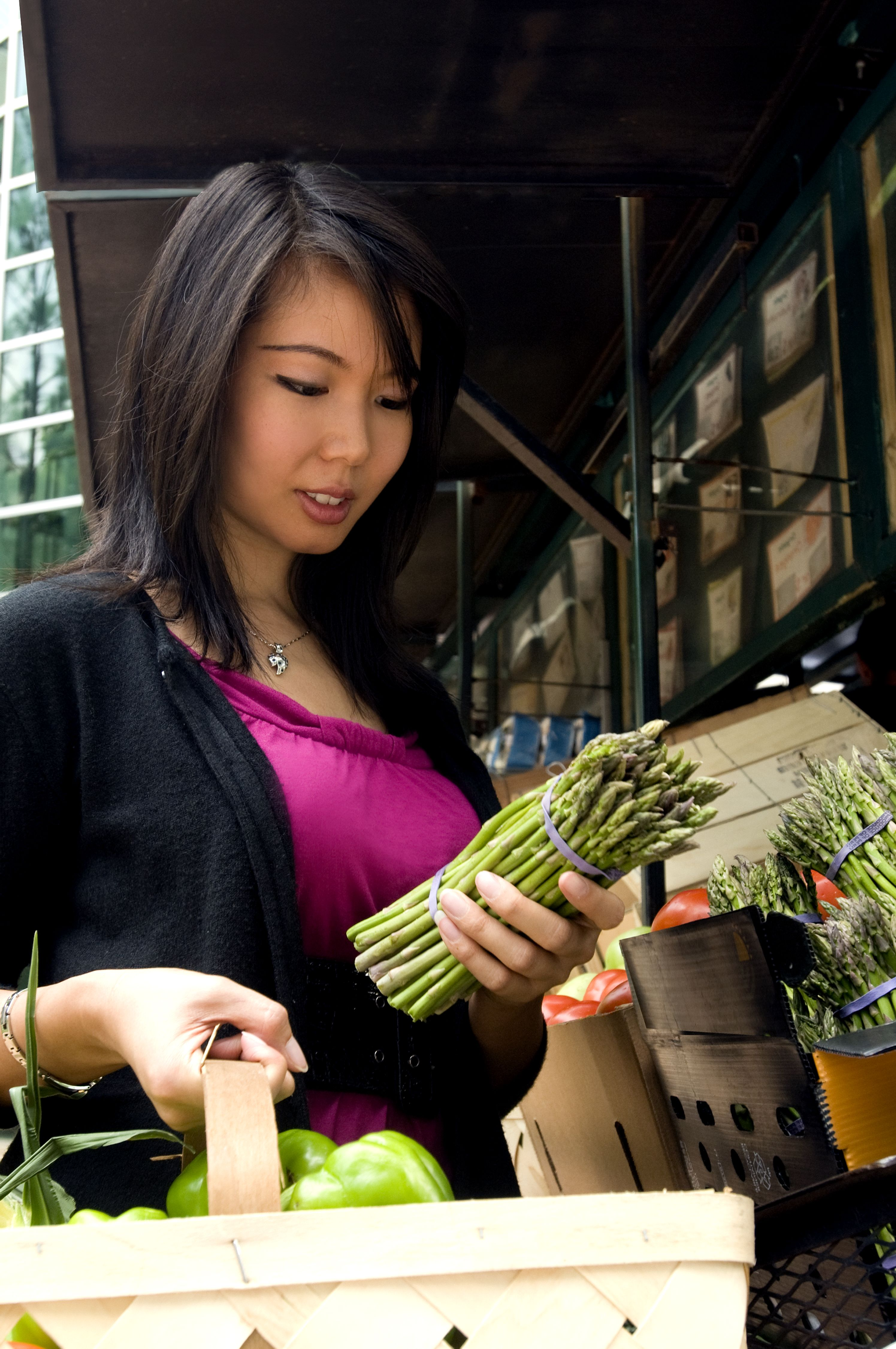 free picture: cute, asian, woman, picking, bunch, asparagus, market