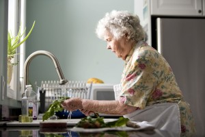 elderly, woman, kitchen, cleaning, fresh, uncooked, meal