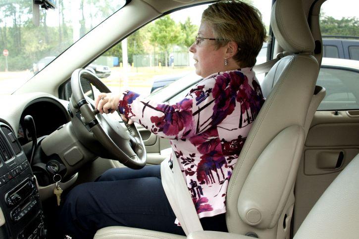 female, driving, car