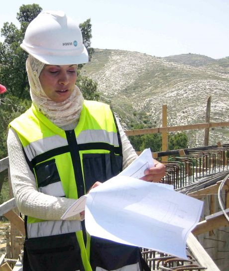 female, engineer, works, road, construction, one, many, female, engineer