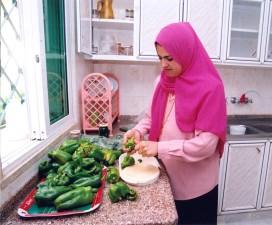female, forking, kitchen