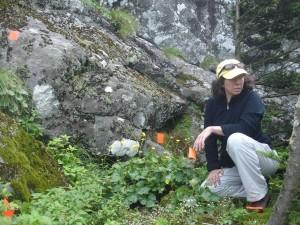 female, kneeling, nature