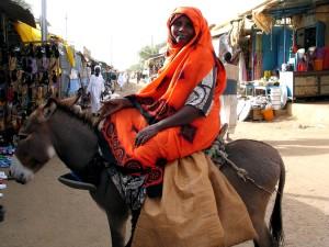 nainen, aasi, markkinoilla, Sudan