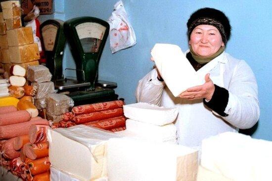 mujer, trabajo, tienda, Kirguistán