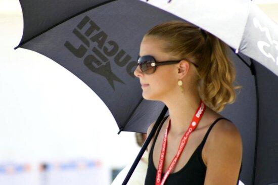 girl, umbrella