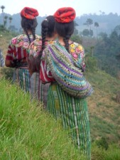 kaqchikel, Mayan, women, walking, single, file, countryside, Patzun, Chimaltenango, Guatemala