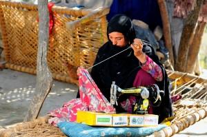 lady, sewing machine