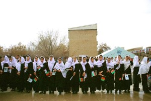 large, group, Afghanistan, girls, participate, ceremony, textbooks