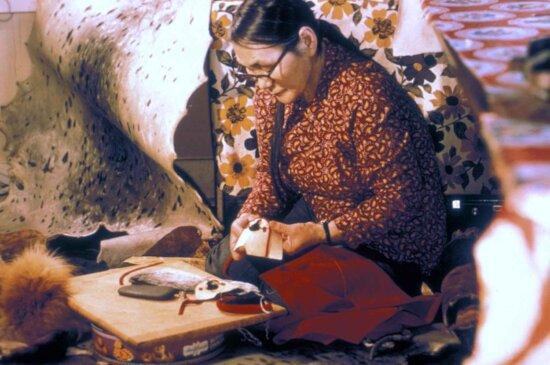 native, alaskan, woman, making, moccassins, hand, made