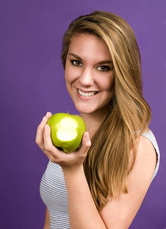 nice, face, girl, bite, green, Granny Smith apple