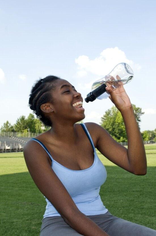 nice looking, girl, drinking, refreshing, water